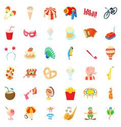 Holiday icons set cartoon style vector
