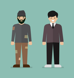 Homeless man and rich man character vector