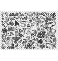 honey doodle set vector image