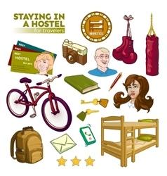 Hostel Elements Set vector image