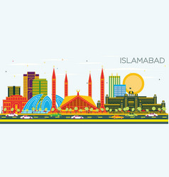islamabad pakistan city skyline with color vector image