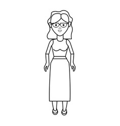 Line nice woman with glasses blouse and long vector