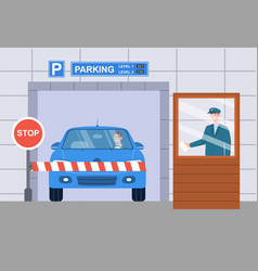 Male character is checking vehicle ticket vector