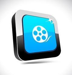 Media 3d square button vector