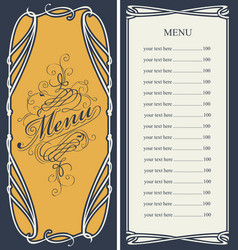 menu with price list and curlicues frame vector image
