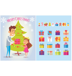 merry christmas postcards set piles of gift boxes vector image