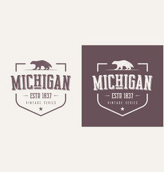 Michigan state textured vintage t-shirt and vector