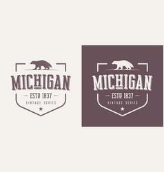 Michigan state textured vintage t-shirt vector