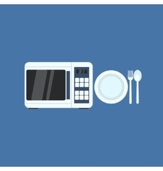 Microwave Oven And Plate vector