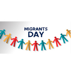 Migrants day card of diverse people paper garland vector