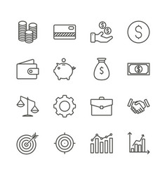 money set icon outline finance collection vector image