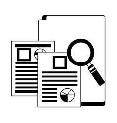 office folder documents file magnifying glass vector image