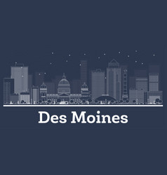 Outline des moines iowa city skyline with white vector