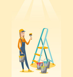 painter with paint brush vector image
