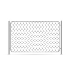 part glossy metal chain link fence on white vector image
