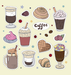 patches with different types of coffee doodle vector image