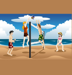 people playing beach volleyball vector image