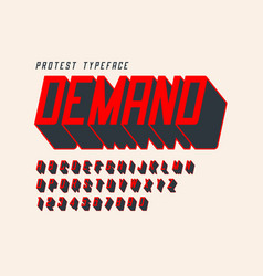 Protest display font design alphabet character vector