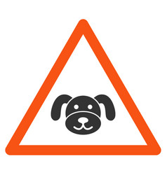 Puppy warning flat icon vector