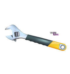 Realistic chrome adjustable wrench with rubber vector