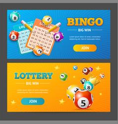 Realistic lotto banner horizontal set vector