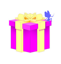 realistic volumetric purple gift box with ribbon vector image