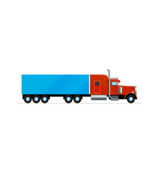 Red american truck trailer freight cargo flat vector