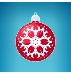 Red Ball with Snowflake vector image