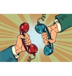 Retro a dialogue on phone two handsets vector
