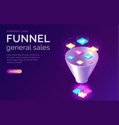 Sales funnel isometric concept vector