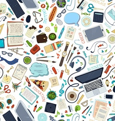 Seamless pattern of gadgets and office supplies vector