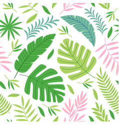 Seamless pattern with colorful tropical plants vector