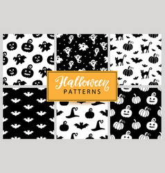 set halloween seamless patterns vector image