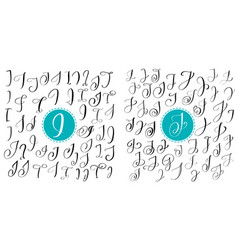 set letters i j hand drawn flourish vector image