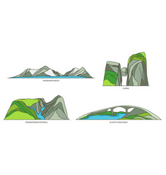 Set norway travel icons natural landscapes vector