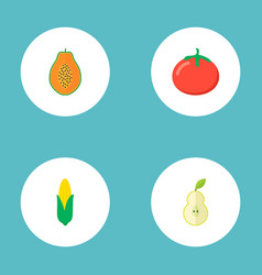 set of fruit icons flat style symbols with pear vector image