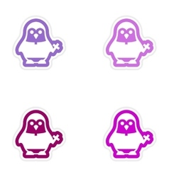 Set of paper stickers on white background penguin vector