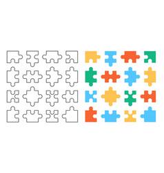 set puzzle pieces vector image