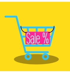 Shopping cart icon with sale nameplate vector image