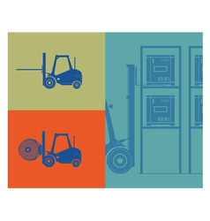 Silhouettes of forklifts Forklift loading goods vector image