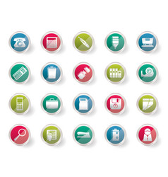 Simple office tools icons over colored background vector