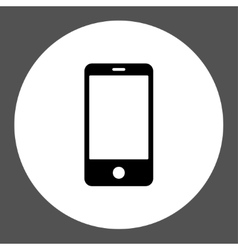 Smartphone flat black and white colors round vector