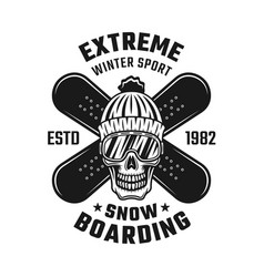 Snowboarding emblem with skull and two boards vector