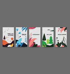 Social media flat plant posters abstract vibrant vector