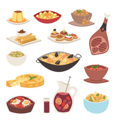 Spain cuisine cookery traditional food dish recipe vector