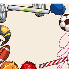 Sport equipments around the paper vector