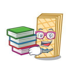 Student with book waffle mascot cartoon style vector