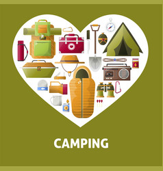 Summer camping heart poster vector
