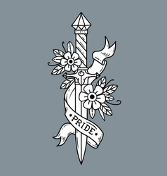 Tattoo dagger with flowers and ribbonpride vector