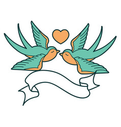 Tattoo with banner a swallows and a heart vector
